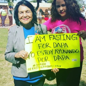Dolores Huerta and Alejandra Sanchez joined the Fasting for DAPA Chain