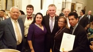 Terry McAuliffe with members of VACOLAO Andres Tobar, Beatriz Amberman, Leni Gonzalez , Edgar Aranda-Yanoc, and Lobbyist Demas Boudreaux